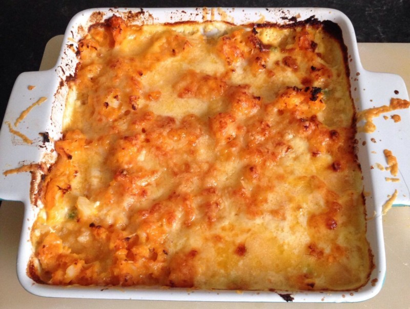 Fish pie cooked