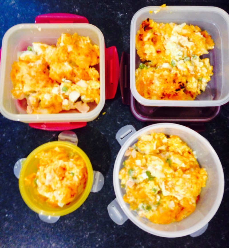 Fish pie ready for freezing