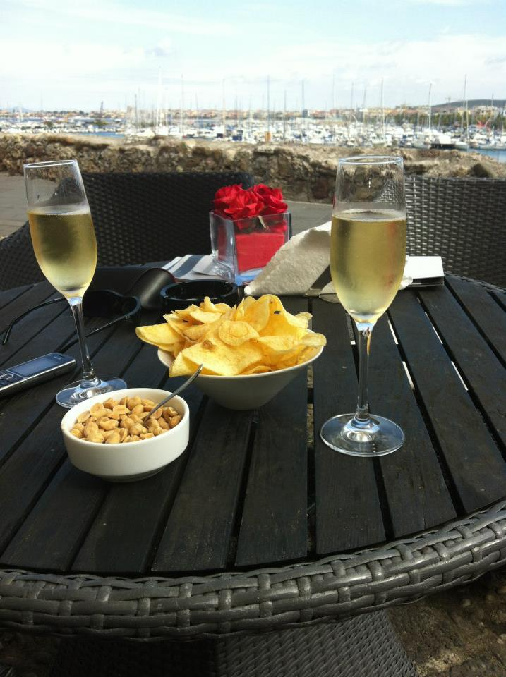 enjoying nibbles and champagne. Holidaying without kids
