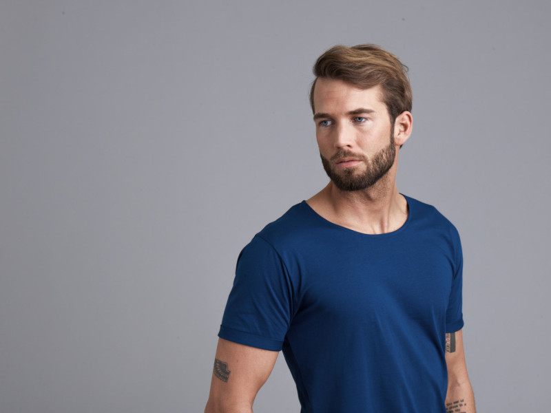 model wearing son of a tailor t shirt