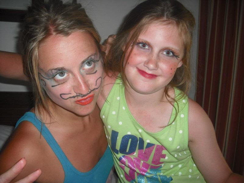 Me and Lauren 5 years aho with silly make up on