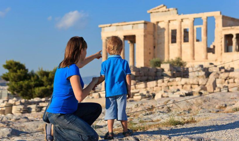 Showing boy ancient greek ruins