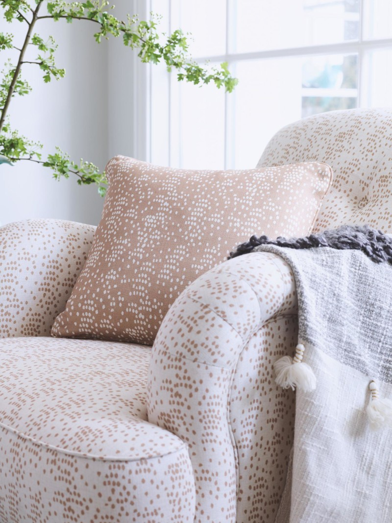 pale dotty fabric monsoon design and miltiyork armchair