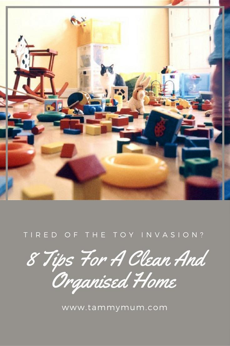 Tired of the toy invasion? 8 tips for a clean and organised home. Excellent ways to keep on top of the mess from the children.