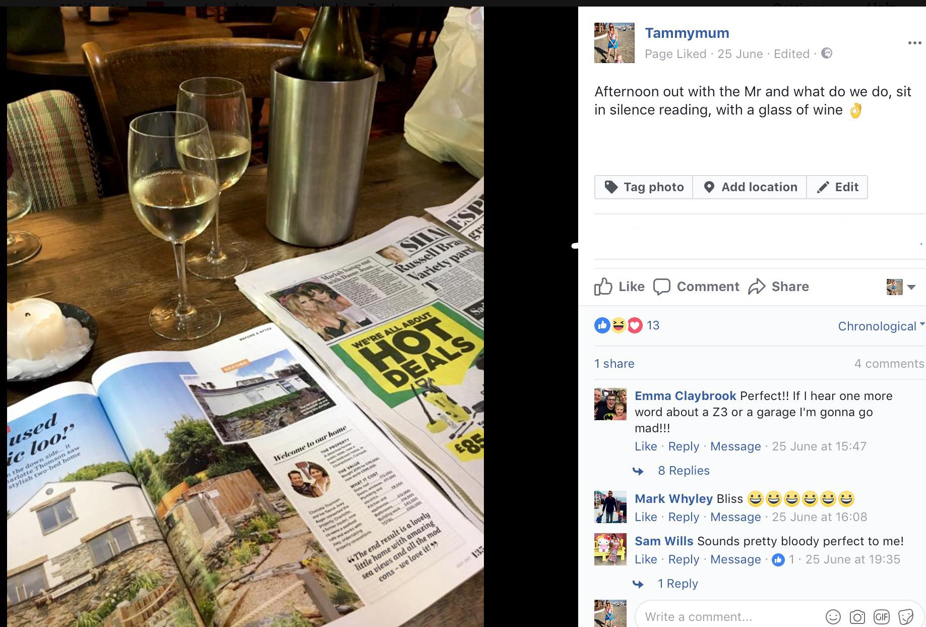 Facebook post from our getaway in the Cotswolds